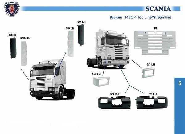 Решетка капот scania 1334054 3 серия стримлайн