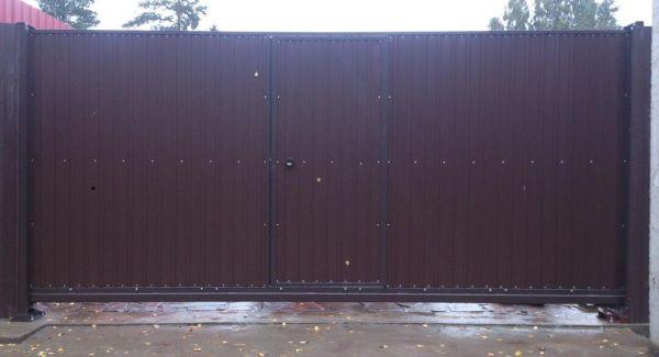 Откатные ворота 3, 5*2, 0 м с калиткой