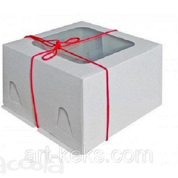 Коробка для торта 300х300х190 мм.  Гофро.  Дно и крышка с окном