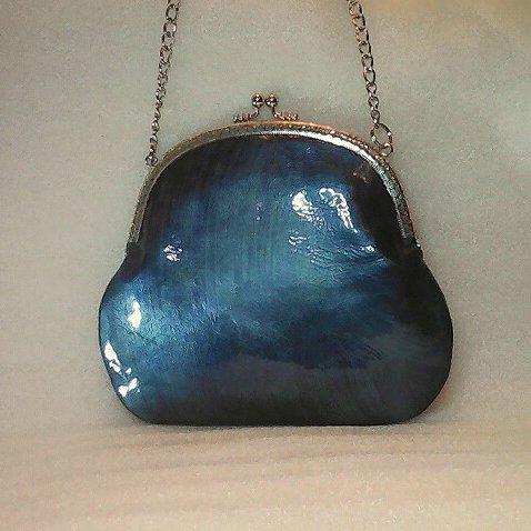 Маленькая лаковая сумочка цвета морской волны (кожа,  handmade)