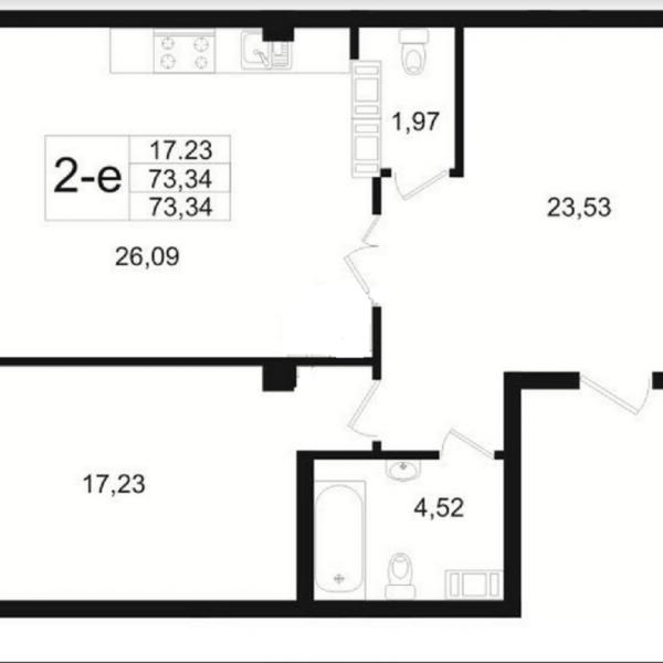 Современная 2 Евро квартира в доме бизнес-класса ЖК Резиденс