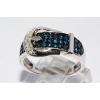 Серебряное кольцо с голубыми бриллиантами