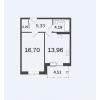 Продается квартира в новостройке 44,68 кв.м.