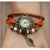 Женские винтажные часы Лист Магнолии с  оранжевым  ремешком.Тренд сезона 2015!